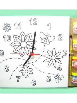 Kit Tela para Pintar Relógio - Flores - Kits for Kids