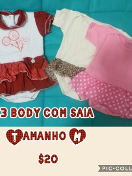 Kit com 3 body com saia M