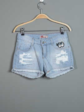 Short Jeans Com Patches
